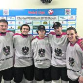 """<p class=""""caption"""">Die Vorarlberger im U-19-Team in Sanok: Jonas Kofler, Lukas Haberl, Timo Demuth, Dennis Sticha und Gregor Pilgram. Fotos: ÖEHV</p>"""