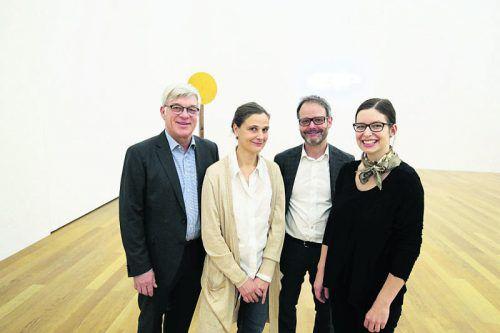 Dir. Friedemann Malsch, Kuratorin Christiane Meyer-Stoll, Thomas Soraperra und Regierungsmitarbeiterin Janine Köpfli. Fotos: MEusburger