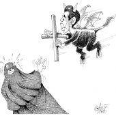 Burka-Austreibung mit dem Kreuz!