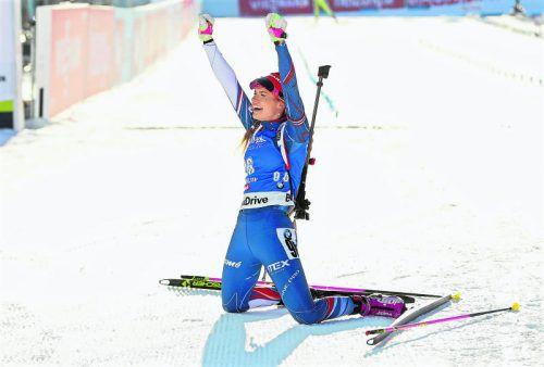 Gabriela Koukalova zeigt, wie Gold gemacht wird: fehlerfrei am Schießstand, schnell auf der Loipe.  Foto: gepa