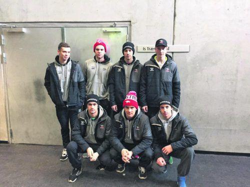 Mit dem ÖEHV-Team in Aalborg: Marcel Zitz, Patrick Stückler, Elias Wallenta, Dominik Rauter (hinten), Niklas Gehringer, David König, Marvin Kortin.