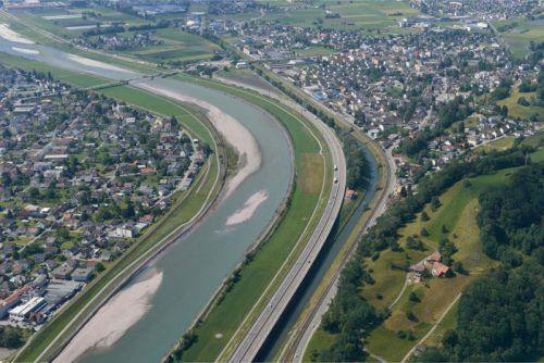 Der Rhein bei Lustenau Richtung Au, wie er nach der Umgestaltung aussehen soll.Rhesi