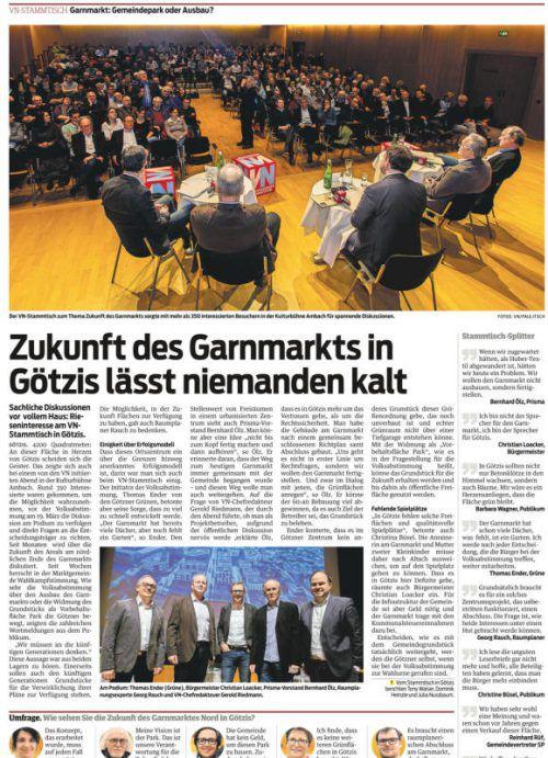 Bericht vom Götzis-Stammtisch in den VN vom 8. März 2017.