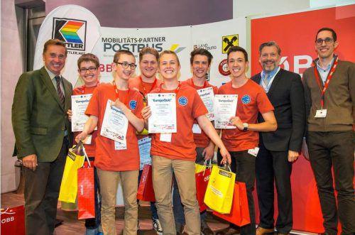 Das Gewinnerteam hatte mit Florian Bassa (Landeskoordinator Vorarlberg, r.) allen Grund zum Feiern.