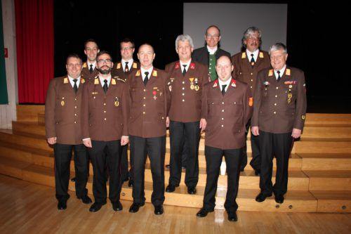 Die Florianis desFeuerwehr Bezirkskommmandos Feldkirch tagten in Koblach und zogen präsentierten ihre Jahresbilanz. Foto: he