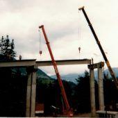 Aus der Geschichte. Bau Rainbergbrücke (L 73) in Übersaxen