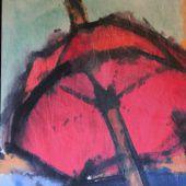 Unter einem roten Regenschirm