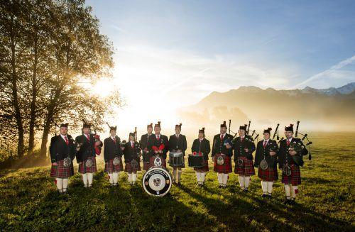 """Auch die Hörbranzer Dudelsackgruppe """"The First Leiblach Valley Pipes and Drums"""" ist mit ihren besonderen Klängen dabei."""