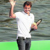 Federer und Murray spielten auf der Limmat