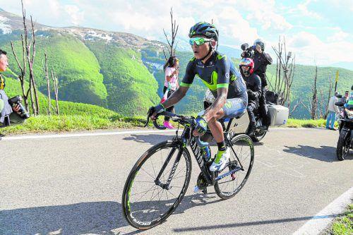 Allein nach Blockhaus unterwegs: Nairo Quintana spielte auf der neunten Etappe seine Stäkren am Berg aus. Foto: apa