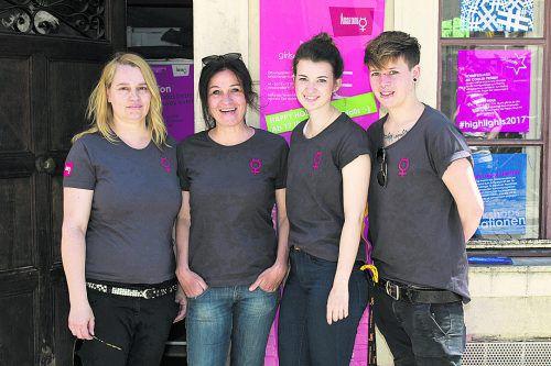 Ariane Grabherr (v. l.), Geschäftsführerin Amanda Ruf, Katharina Buhri und Ramona Brunner. Fotos: Franc