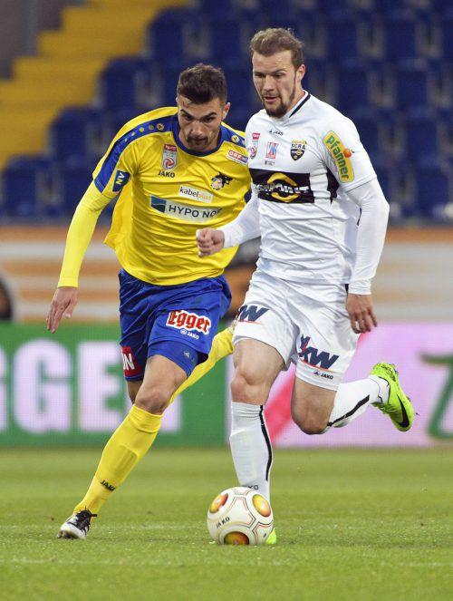 Auf Powerfußball à la Jan Zwischenbrugger setzt Altach gegen St. Pölten.gepa