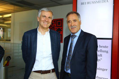 Collini-Bludesch-GF Thomas Götze mit Liebherr-GF Manfred Brandl.