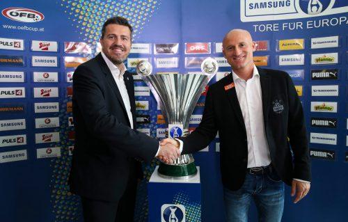 Das Duell der Teams von Oscar Garcia (l.) und Goran Djuricin (r.) im ÖFB-Cup-Finale entscheidet über Österreichs Europacup-Starter.  Foto: gepa