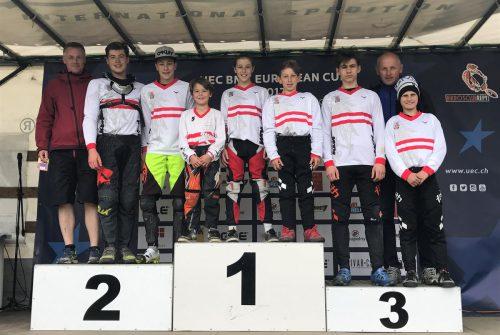Das erfolgreiche Team des BMX-Club Sparkasse Bludenz bei den Europacuprennen in Prag. Foto: VErein