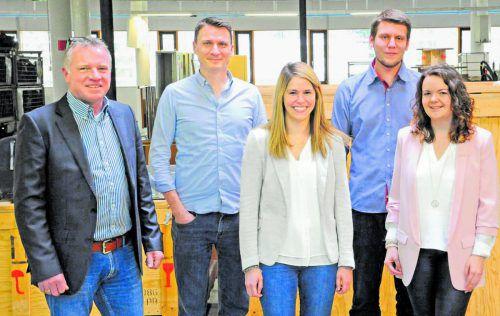 Das Innovation Lab: (v. l.) Geschäftsführer Gerhard Günther, Thomas Zangerle, Valerie Bernhard, Marvin Mall und Nadine Mayer.  Foto: illwerke vkw
