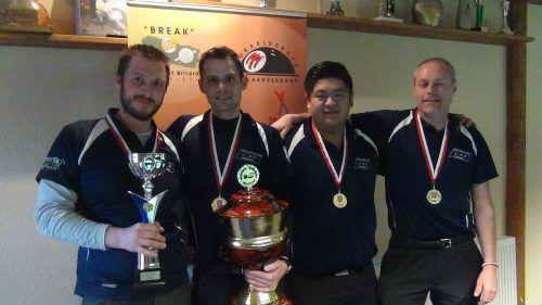 Das Siegerteam des CAP Hörbranz im V-Cup (v. l.): Andreas Österle, Dominik Gradisnik, Mario He und Dieter Brum. Foto: VErein