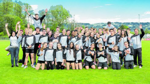 Das zweitplatzierte Aufgebot des Vorarlberger Leichtathletiverbands (VLV) bei der IBL-Meisterschaft in Lindau. Foto: VLV/Pichler