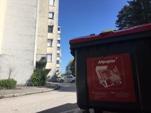 Der Container in der Bregenzer Blumenstraße wurde nicht nur mit wertlosem Altpapier gefüllt. Foto: VN/Sohm