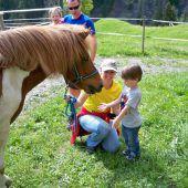 Spiel und Spaß ums Pferd beim Reitplatz im Ebnit