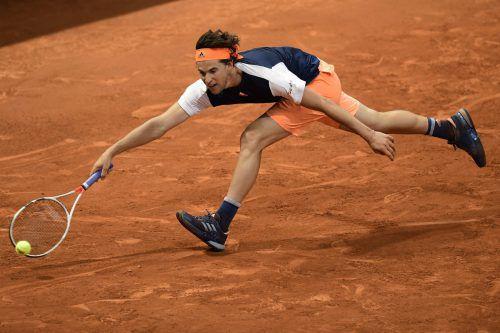 Dominic Thiem musste sich gegen Grigor Dimitrow gehörig strecken, um ins Viertelfinale zu kommen. Foto: afp