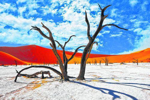 Faszinierende Kombination aus roten Dünen, weißem Salz und blauem Himmel: das Sossusvlei in der Wüste Namib.