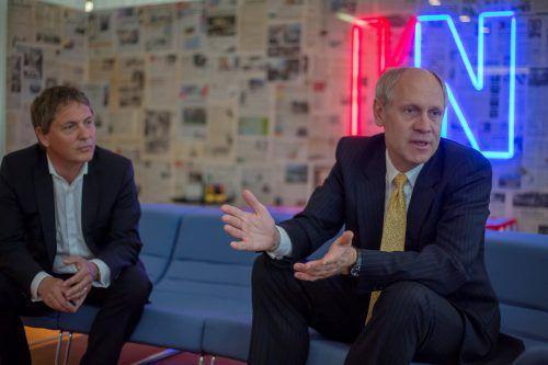 Fondsmanager Hendrik Leber (r.) mit Vermögensverwalter Christoph Wirnsperger (W&L Asset Management). Foto: VN/Paulitsch