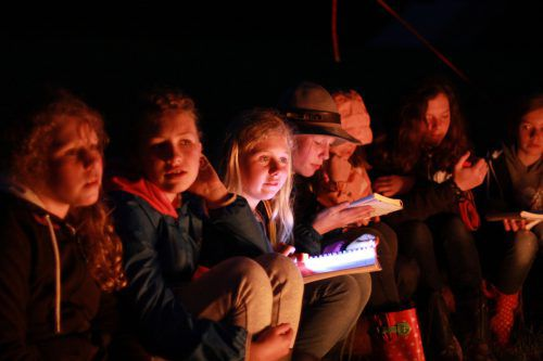 Gemeinsames Singen beim nächtlichen Pfadfinderlager.