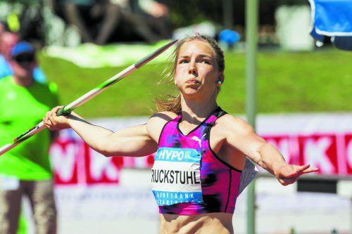 Géraldine Ruckstuhl verbesserte ganz nebenbei auch den Schweizer Rekord im Speerwerfen auf 58,31 Meter.  Foto: Dietmar Stiplovsek