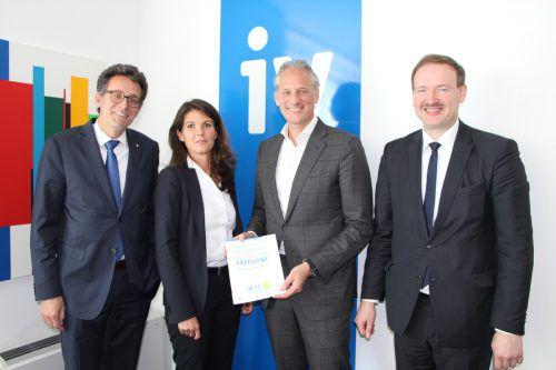 Gerhard Burtscher (BTV), Eva-Maria Berchtold (EY), Martin Ohneberg (IV) und Studienautor Christian Helmenstein.  Foto: IV