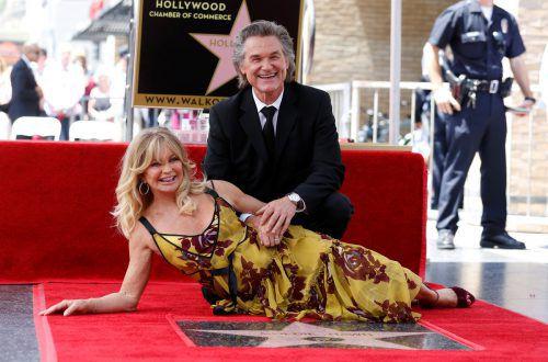 Goldie Hawn und Kurt Russell enthüllten gemeinsam ihre Sterne auf dem berühmten Hollywood Boulevard. Foto: Reuters
