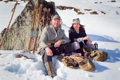 """Hermann Maier und Anita Wachter beim """"Universum""""-Dreh im Silvrettagebiet. Foto: P. Centurioni"""