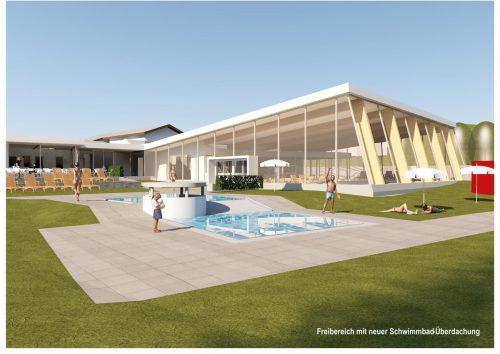 In den neuen Plänen des Aquarena würde durch die Becken-Einhausung eine Schwimmhalle entstehen. Foto:Rendering Lang Vonier Architekten