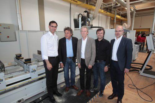 LH Markus Wallner, Innungsmeister Siegried Fritz, Dir. Gerhard Wimmer, Reinhard Schertler (i+R Gruppe) und Jürgen Jussel (Rhomberg Bau).