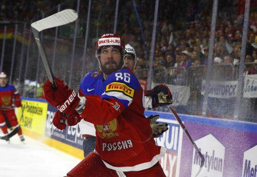 Nikita Kutscherow möchte mit Russland bei der WM ganz nach oben – aber heute steht Kanada im Weg.  Foto: ap