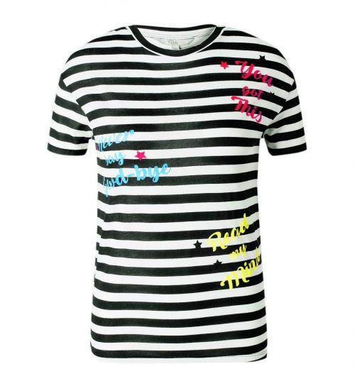 Print: Auffällige Schriftzüge peppen den Streifen-Look des Clockhouse-T-Shirts auf. Gibt's bei C&A um 7,90 Euro.