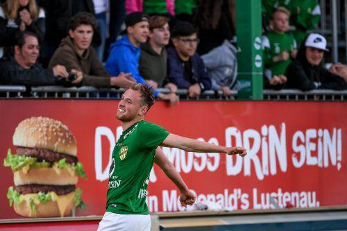 Spielt weiterhin in absoluter Topform: Austrias Mittelfeldspieler Julian Wießmeier ist zugleich der torgefährlichste Grün-Weiße im Frühjahr. Foto: gepa