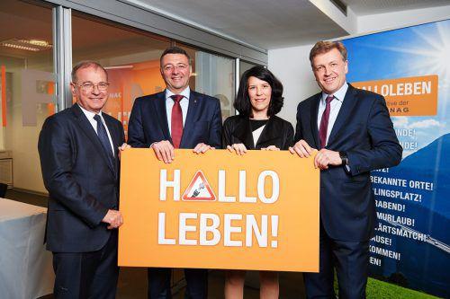 Von links: Alois Schedl (Asfinag), Minister Jörg Leichtfried, Verkehrspsychologin Bettina Schützhofer und Klaus Schierhackl (Asfinag). Asfinag