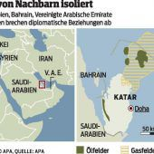Emirat Katar von Nachbarn isoliert
