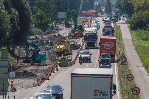 Die L 190 ist zwischen Dornbirn-Nord und Lauterach von 31. Juli bis 2. September komplett gesperrt.Foto: VN/steurer