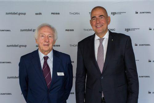 Aufsichtsratsvorsitzender Jürg Zumtobel und Vorstandsvorsitzender Ulrich Schumacher wurden von den Aktionären entlastet.VN/Steurer