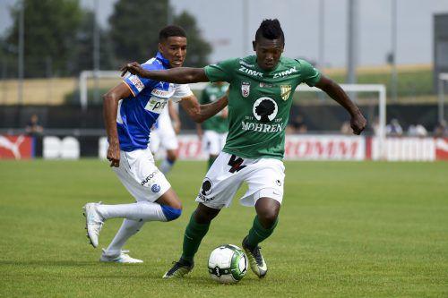 Jodel Dossou startet heute mit seiner Mannschaft Austria Lustenau gegen den FAC in die neue Saison.  harti
