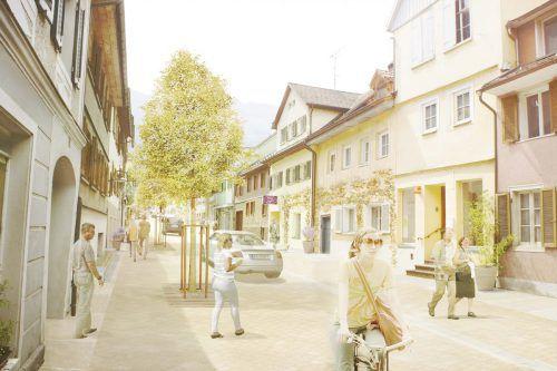 Ein Beispiel, das funktionieren könnte: Hohenems versucht gerade die Marktstraße attraktiver zu machen.Rendering:Stadt Hohenems