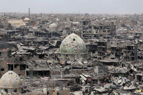 Große Teile der irakischen Stadt wurden in acht Monaten heftiger Kämpfe in Schutt und Asche gelegt.  Foto:AFP