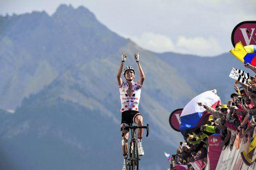 Kraftakt von Warren Barguil: Der Franzose erstürmte als Erster den Col D'Izoard, den letzten Berg bei der diesjährigen Tour de France.Foto: apa