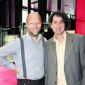 """<p class=""""caption"""">Künstlergespräche: Christoph Steinbrener (l.) und Harald Gfader.</p>"""