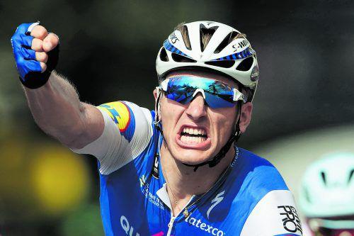 Marcel Kittel reißt die Faust in die Höhe. Das Sprintass feierte seinen elften Tour-Etappensieg, noch einer fehlt ihm auf Erik Zabel.Reuters