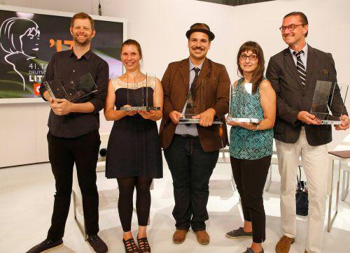 Preisträger John Wray, Gianna Molinari, Ferdinand Schmalz, Karin Peschka und Eckhart Nickel. Foto: APA