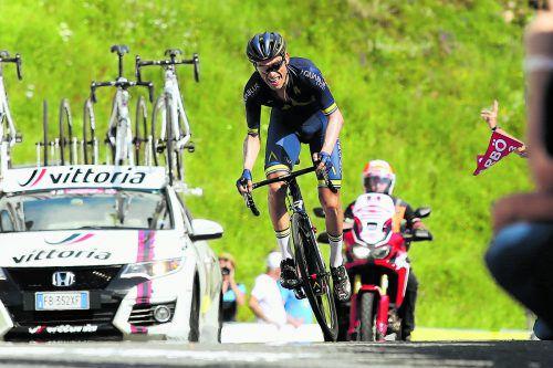 Stefan Denifl auf dem Weg zu Platz zwei am Kitzbüheler Horn: Der Tiroler lebt den Traum vom Heimsieg bei der Österreich-Radrundfahrt. Foto: gepa