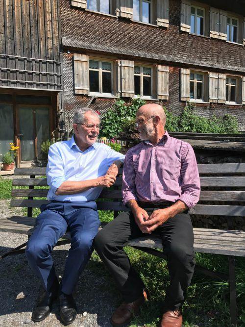 Ein Besuch bei seinem jahrzehntelangen Freund Kaspanaze Simma steht auch heuer am Festspiele-Programm von Bundespräsident Alexander Van der Bellen.VN